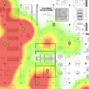 Heat map from camera system showing customer density in a retail center